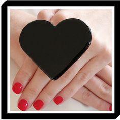 Black Heart Ring Ceramic big bold handmade by StudioLeanne, $29.00