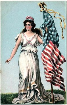Old Americana ~ postcard. Change the lady to statue of liberty or pin-up but the flag is pretty cool.