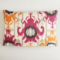 Ikat Print Burlap Lumbar Throw Pillow, #WorldMarket
