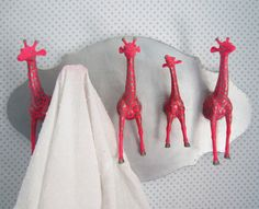 Upcycled Wall Peg Rack with Neon Pink and Silver by fbstudiovt, $64.98