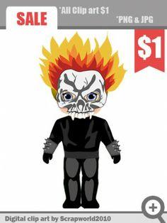 superhero fire boy clipart