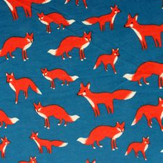 Red Fox on Blue Cotton Jersey Blend Knit Fabric