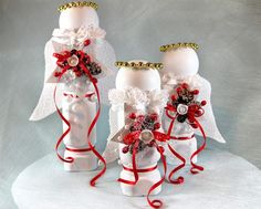 Upcycled product. Christmas angels made from old shelf spindles.