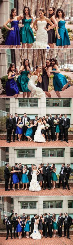 Fun Bridal Party Portraits Shades of Blue Bridesmaids Freed Photography Washington DC