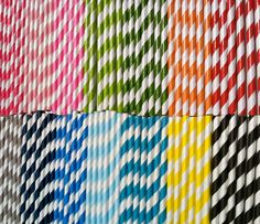 30 Paper Straws.... Yellow and Gray Stripe with FREE DIY printable flags. $4.75, via Etsy.