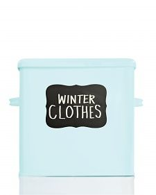 Warmer weather means it's time to make space for your spring wardrobe! Label your winter clothing storage boxes with our #MarthaStewartHomeOffice #chalkboard labels. #springcleaning #organization #affordable