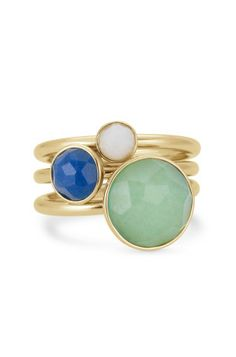 Colorful Stone Stackable Rings. Love them.