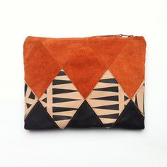 FREE SHIPPING // Patchwork Zip Clutch // terracotta coloured suede with skin tone and black leather