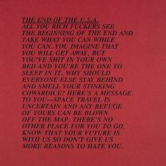 Jenny Holzer, The End of the U. S. A., 1979-1982, Harvard Art Museums/Fogg Museum.