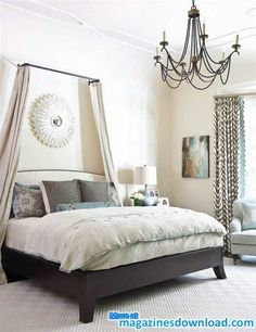 canopi, headboard, curtains, idea, bedroom decor, beds, curtain rods, master bedrooms, traditional homes