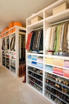 Clothes organized by color.  How efficient... love it.  Project!