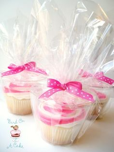 Package cupcakes in a plastic cup and cellophane baggie.. Easy way to get rid of the extra cupcakes. Everyone take them to go!