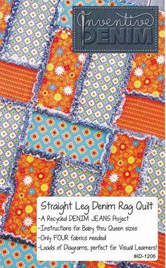 PATTERN- Straight Leg Denim Rag Quilt (use your Recycled Denim Jeans)