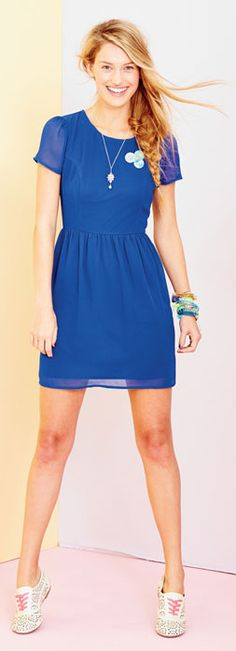 Short Sleeve Chiffon Dress