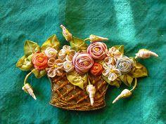 RARE Antique Ribbonwork Basket of Flowers | eBay