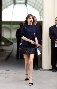Fall 2012 Couture Street Style: Alexa Chung wears her signature mini with a touch more shimmer.