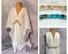 Athena Caftan Lounger Beach Spa Cover Up White One Size Cotton Boho, Dress, Hippie, Grecian
