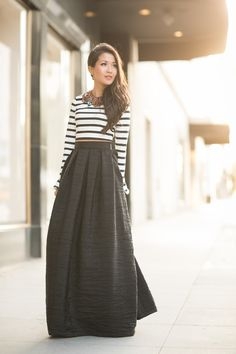maxi skirt + stripes