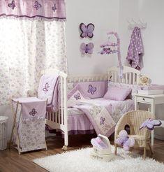 Butterfly Purple Crib Baby Girl Bedding Sets