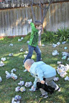 Newspaper Snowball Fight - Homemade Gross Motor Game for Kids ~ Learn Play Imagine