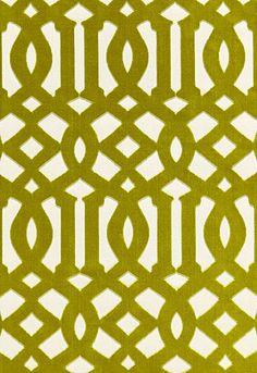 Imperial Trellis Velvet in chartreuse for Schumacher Fabric #chartreuse #fabric #trellis