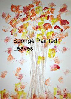 Sponge Painted Leaves - Autumn Blog Hop