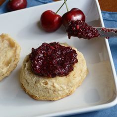 Cherry Chia Jam - Only 3 ingredients and no cooking required! No refined sugar.