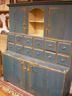 20592: Country Blue-painted Wooden Step-back Cupboard, : Lot 20592