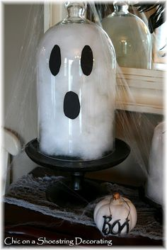 Chic on a Shoestring Decorating: Easy Halloween Ghost Cloches... Boo!!