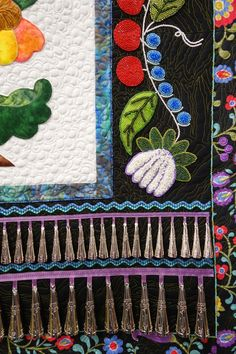 Ojibwe Jingle, close up, by T. Carter (Virginia).  Beaded quilt. Photo by Sew Fun 2 Quilt.  2014 Denver Quilt Show