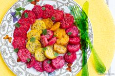 Prickly Pear Pomegranate Salad is a favorite summer salad around here!  #summer #salad #pricklypears #pomegranate