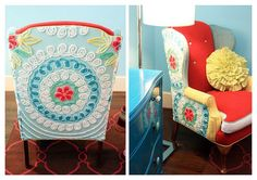 Chenille Bedspread used to cover chair