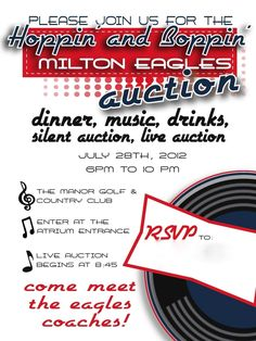 Milton eagles auction fundraiser dinner invitation by the party girl