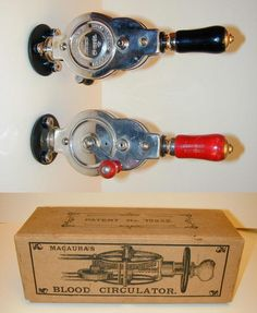 MACAURA'S BLOOD CIRCULATOR  Originally sold as the Macaura's Pulsocon and later renamed the Macaura's Blood Circulator. The action is a plunging motion of the center disk at the end. There were also applicators that would screw into the center disk. British patent 13932, I am unsure of the year this patent was issued due to complexities in the British patent numbering system. Some evidence suggests as early as the mid 1880's and other information suggests as late as the early 1900's. This model