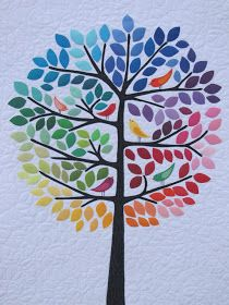 Lovely tree quilt - thinking if my students draw the trunk and branches and then cut out the different coloured leaves and birds out of magazines or paint samples or something. might look awesome! Colourful Applique Tree, Family Trees, Quilt Patterns, Love Tree, Color, Leav, Tree Quilts, Rainbow, Quilts Birds
