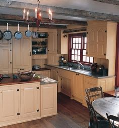 Kennebec Company: painted, hand-planed pine kitchen cabinetry     Did you know these cabinets are made in Maine.  They are featured in Early American Homes Magazine.