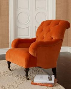 living rooms, keys, colors, reading chairs, oranges, accent chairs, furniture, velvet, neiman marcus