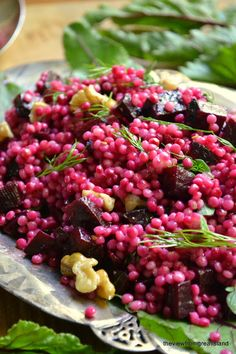 Israeli Couscous with Beets and Walnuts
