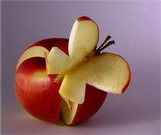 butterfli, food sculpture, fruit carvings, fruit art, snack