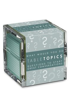 I've heard these Conversation Starter cubes are awesome. Would be fun to have for a dinner party.