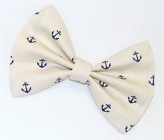 Hair Bow Vintage Inspired 1920s Creme with Dark Blue Anchors Clip Rockabilly Pin up Teen Woman E210501 V