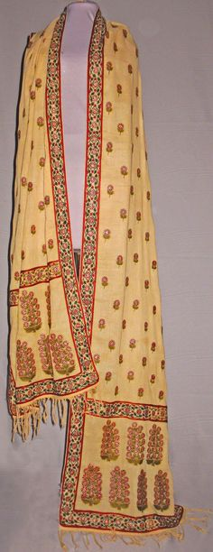 Lovely shawl. Cotton, silk and gold thread. India, 1790-1800.