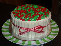 My Christmas candy barrel cake. So easy to make and so cute!