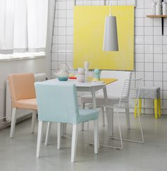 Bemz. Peach, aqua and yellow. white tiles.