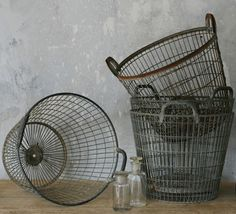 basket case, tree basket, metal, zinc baskets, wire baskets, french antiques