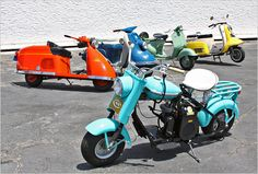 Petersen Automotive Museum  The Petersen's new exhibit surveys nearly 100 years of scooter history. The vehicle in the foreground is the 1959 Cushman Eagle. The scooters behind it (from left to right) are: 1947 Salsbury Model 85, the 1960 Heinkel Tourist 103, the 1955 Allstate (made by Vespa, sold through Sears), and the 1962 Fuji Rabbit