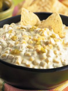 Creamy Hot Corn Dip Recipe it was so good, there wasn't any left. It was by far the easiest recipe ever. I used my crock pot... about 2.5 to 3 hours on low. I used: half of a jar of rinsed, sliced jalapenos (ok, I poured some juice in it too), 2 8oz packages of cream cheese. 2 cans of sweet corn, drained. I served it with tortilla chips, and baked crispy garlic bread slices. Loved it.