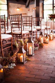 Lanterns - ceremony. #dreamdigs wedding ceremonies, aisle decorations, lantern, stone paths, wedding flowers, wedding ceremony flowers, fall weddings, candl, outdoor weddings