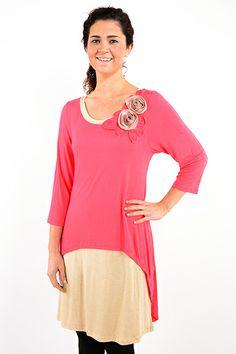 Coral Layered Tunic Top - #blondellamydean #plussizefashion #plussize #curves