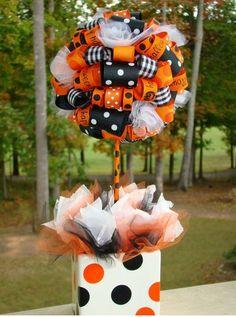 Halloween ribbon topiary parti caro, craft, pretti parti, halloween themes, ribbon topiaries, halloween ribbon, topiari tree, parti idea, diy topiari